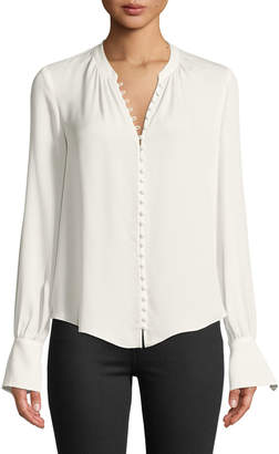 Joie Tariana Button-Front Long-Sleeve Silk Blouse