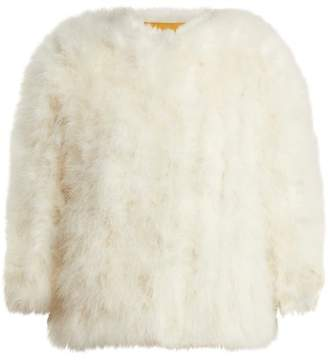 Yves Salomon Cropped Feather Embellished Jacket - Womens - White