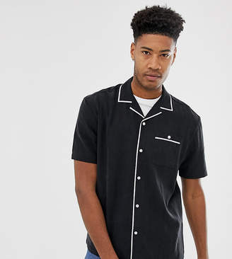 Asos Design DESIGN Tall oversized viscose short sleeve shirt with piping