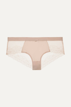 Chantelle Le Marais Stretch-lace And Point D'esprit Briefs - Blush