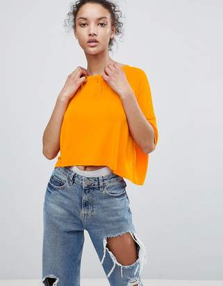Asos Design Cropped Oversized T-Shirt With Button Front