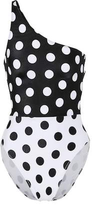 Norma Kamali One-shoulder polka-dot swimsuit
