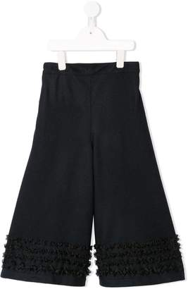 Familiar frill detail palazzo trousers