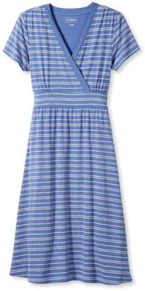 L.L. Bean L.L.Bean Summer Knit Dress, Short-Sleeve Pebble Stripe Print