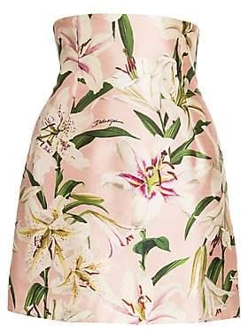 Dolce & Gabbana Women's Lily Print High-Waist Silk Skirt