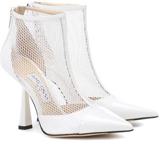 fba94a0ea29a Jimmy Choo Kix 100 leather and mesh ankle boots