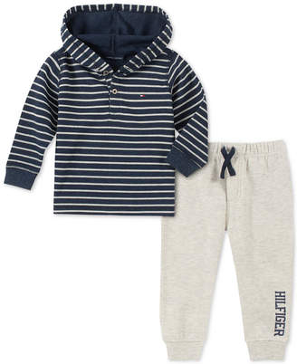 Tommy Hilfiger Baby Boys 2-Pc. Hooded Thermal Knit Top & Fleece Jogger Pants Set