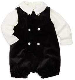 Luli and Me Baby Boy's John John Two-Piece Shirt& Velvet Jumpsuit Set