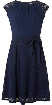 Dorothy Perkins Womens **Billie & Blossom Navy Lace Soft Belted Dress
