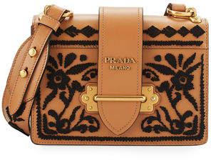 Prada Cahier Embroidered Shoulder Bag