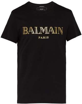 Balmain Logo Cotton T Shirt - Mens - Black Gold