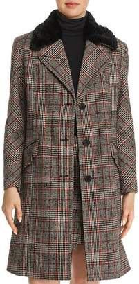 McQ Faux-Fur-Trimmed Plaid Coat