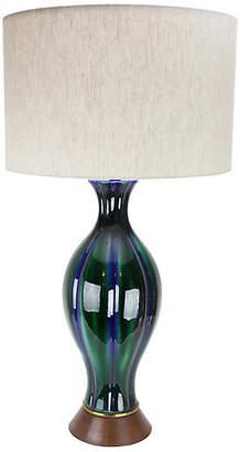 One Kings Lane Vintage Cobalt & Green Ceramic Lamp - Uptown Found