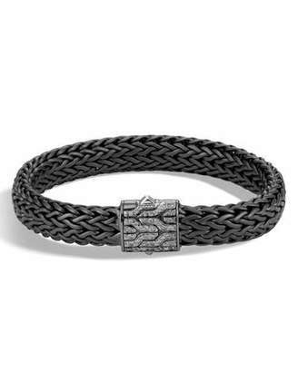 John Hardy Men's Classic Chain Rhodium-Plated Bracelet with Diamonds, Black/Silver