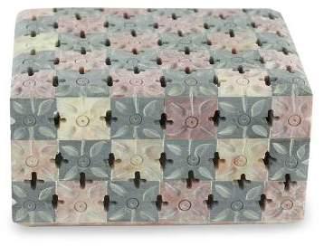 Floral Patchwork Jali Natural Soapstone Decorative Box