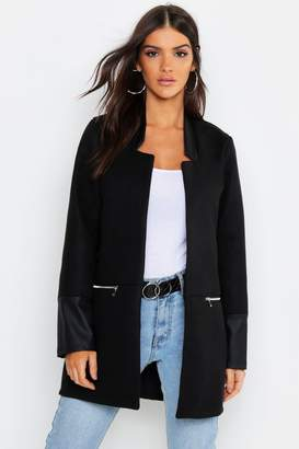 boohoo Faux Leather Trim Zip Pocket Wool Look Coat