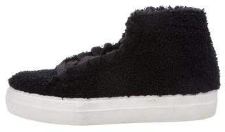 Helmut Lang Shearling High-Top Sneakers