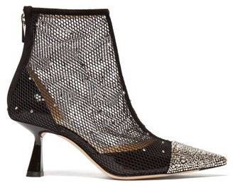 Jimmy Choo Kix 65 Crystal Embellished Mesh Ankle Boots - Womens - Black