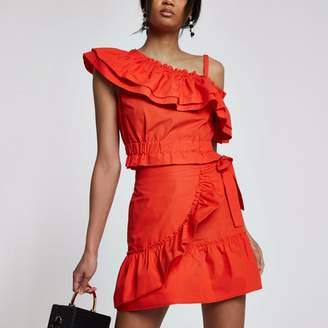 River Island Womens Red poplin frill wrap mini skirt