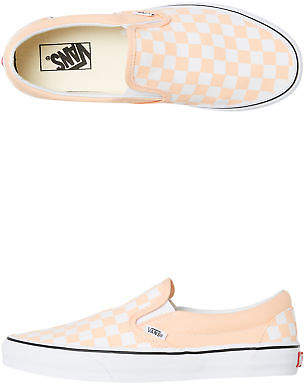 Vans New Women's Womens Classic Slip On Checkerboard Rubber Canvas Pink