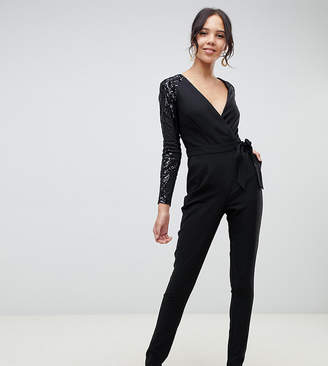 Little Mistress Tall sequin sleeves wrap front jumpsuit