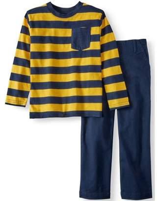 365 Kids From Garanimals Long Sleeve Striped Pocket T-Shirt & Woven Pants, 2pc Outfit Set (Little Boys & Big Boys)