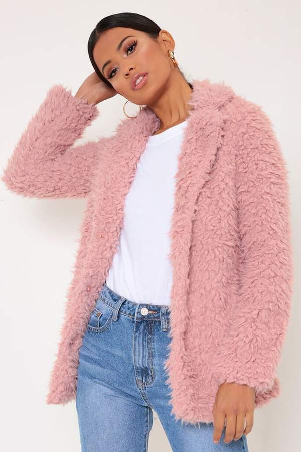 Isawitfirst Dusky Pink Soft Teddy Shaggy Jacket