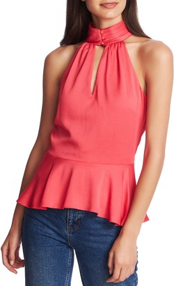 1 STATE 1.STATE Halter Neck Rumple Hammered Satin Top