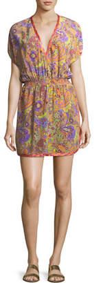Etro V-Neck Blouson Printed Silk Coverup Mini Dress