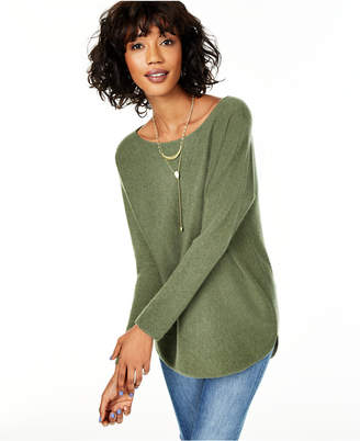 Charter Club Pure Cashmere Long-Sleeve Shirttail Sweater, Regular & Petite Sizes