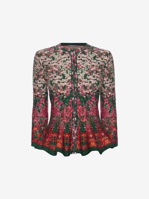 Alexander McQueen Flowerbed jacquard knit peplum cardigan