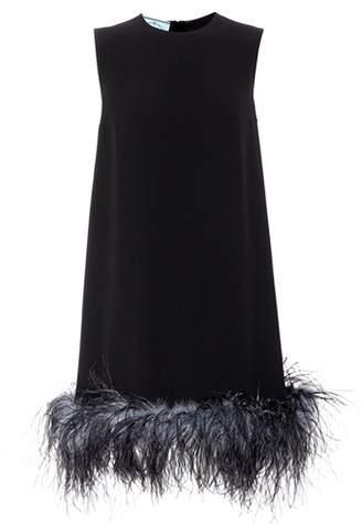Prada Feather-trimmed crêpe minidress