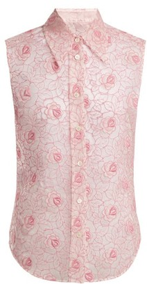 Miu Miu - Floral Lace Point Collar Sleeveless Shirt - Womens - Pink