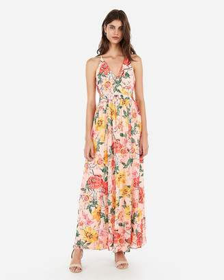 Express Floral Surplice Cut-Out Lace-Up Back Maxi Dress