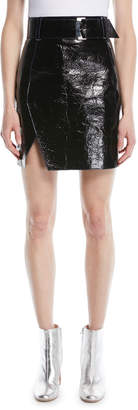 Thierry Mugler Belted Patent Leather Mini Skirt