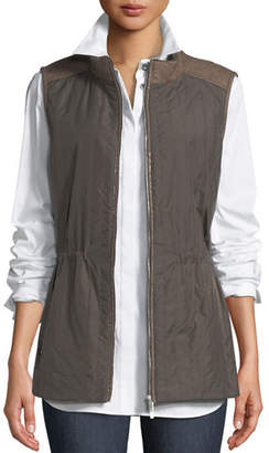 Lafayette 148 New York Edison Zip-Front Outerwear Vest w/ Flannel Back