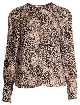 Rebecca Taylor Women's Silk Jacquard Hidden Leopard Blouse - Champagne Combo - Size 0