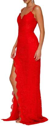 made2envy Lace High Slit Open Back Evening Gown (M, ) LC61696MR