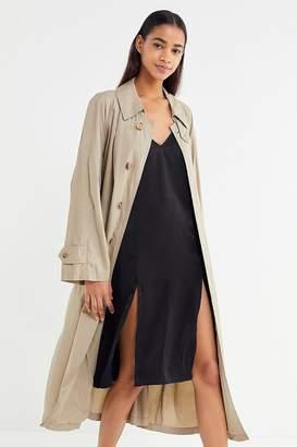 Out From Under Justine Satin Front-Slit Slip Dress