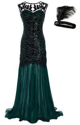 General Women 's 1920s Sequin Maxi Long Evening Prom Party Dress (, XL)