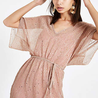 River Island Pink metallic kimono sleeve midi dress