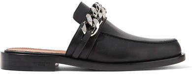 Givenchy - Chain-trimmed Leather Slippers - Black