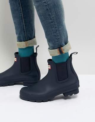 Hunter Chelsea Boots In Navy