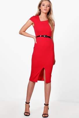 boohoo Oana Cap Sleeve Belted Midi Dress