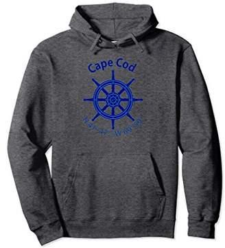 Cape Cod Nautical Coordinates Ship's Wheel Sailing Hoodie