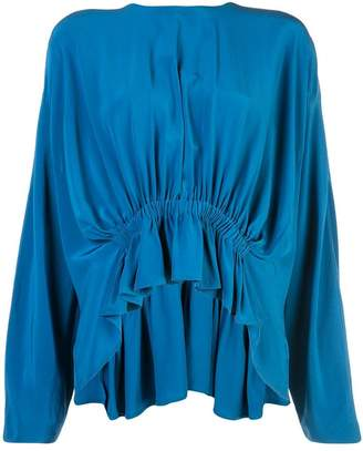 Derek Lam Long Sleeve Georgette Blouse with Gathered Waist Detail