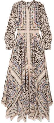 Altuzarra Tamourine Printed Silk Crepe De Chine Maxi Dress - Beige