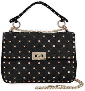 Valentino Rockstud Spike Medium Quilted Suede Satchel Bag, Black