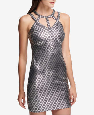 GUESS Printed Metallic Cage-Neck Bodycon Dress