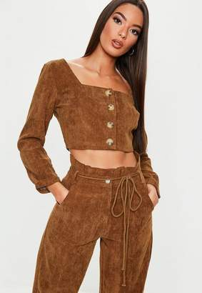 Missguided Chocolate Co Ord Cord Button Front Crop Top